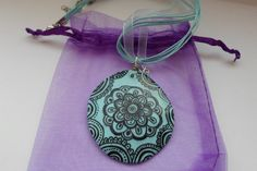 Blue Jewelry Necklace Pendant Zentangle Miniature Art, OOAK Necklace Boho Jewelry, Hand made Necklace, Yoga Jewelry                       , by DHANAjewelry on Etsy