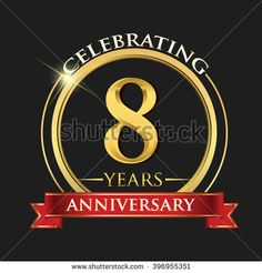 Celebrating 8 years anniversary logo. with golden ring and red ribbon. - stock vector