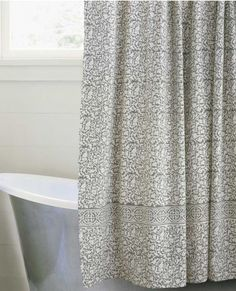 Chain Border Shower Curtain - Indigo, taupe or brown