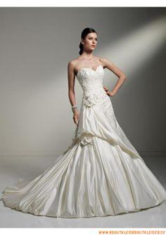 Elegante schöne Brautkleider aus Satin im Meerjungfrauenstil mit langer Schleppe 2013