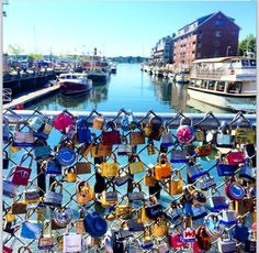 Love lock bridge in Portland, Maine