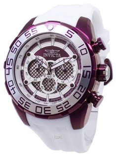 Features:  Stainless Steel Case Silicone Strap Quartz Movement Caliber: VD54 Flame Fusion Crystal Purple/Silver Dial Analog Display Chronograph Function Tachymeter Scale 12/24 Hours Display Luminous Hands Uni-Directional Rotating Bezel Pull/Push Crown Solid Case Back Buckle Clasp 100M Water Resistance  Approximate Case Diameter: 50mm Approximate Case Thickness: 15.5mm