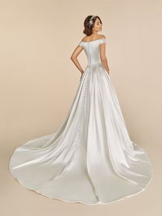 Ball gown Off –the-shoulder Satin Moonlight Tango Wedding Dress Style Wedding Dress Backs, Wedding Dress Necklines, Wedding Dress Styles, Bridal Gowns, Wedding Gowns, Bridal Headpieces, Wedding Hair, Bridal Hair, Princess Ball Gowns