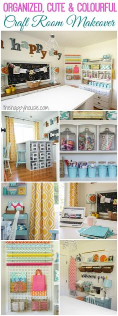 Craft Room Makeover REVEAL I love this craft room makeover it is so cute and colourful and full of great thrifty ideas for getting organized at