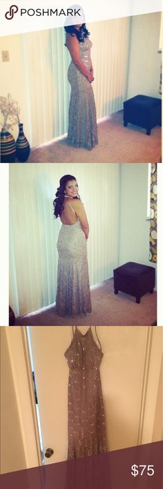 Taupe w/ Silver beading Prom dress Beautiful prom dress with open back, only worn once! Size 7/8 Dresses Prom