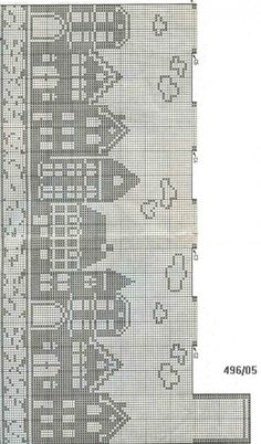 filet crochet - European cityscape on water Fair Isle Knitting Patterns, Knitting Charts, Knitting Stitches, Crochet Patterns, Start Knitting, Doily Patterns, Dress Patterns, Cross Stitch House, Cross Stitch Charts