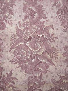 Antique French textile with lovely purple toile fabric