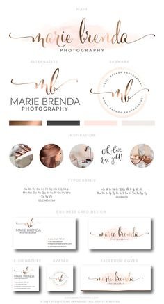Aquarell Logo-Design Logo-Design Rose gold Branding-Kit Logo