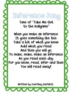 Use these song to help your students understand how to make inferences as they read. Please leave me some feedback if you download this song. T...