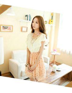 Sweet Dotted Pleated V-neck Chiffon Lotus-leaf Collar Short Dress