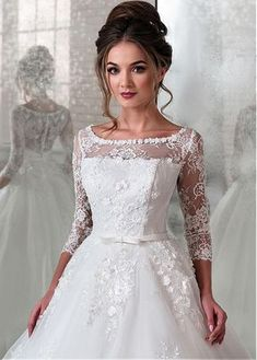 Buy discount Modest Lace & Tulle Scoop Neckline Natural Waistline Ball Gown Wedding Dress With Lace Appliques & 3D Flowers & Beadings at Magbridal.com