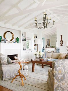 Airy ceilings and cottage-white paint meet to create this sophisticated seaside living room: http://www.bhg.com/decorating/color/schemes/living-room-color-schemes/?socsrc=bhgpin022215livingroomcolorschemeseasidesophisticate&page=12
