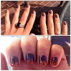 Autumn glitter gel nails on Jess :)