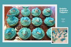 Adorable dolphin cupcakes from Karen's Custom Cakes. Her work is just amazing & so ridiculously clean and precise it blows my mind.