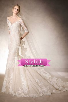 2017 Mermaid Scoop Mid-Length Sleeves Lace With Applique Wedding Dresses