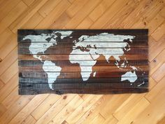 World Map reclaimed wood pallet sign recycled rustic art silhouette Shabby Chic Primitive on Etsy, $225.00