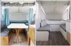 Camper Remodel: Part 3 – yours truly, sarah Small Pop Up Camper Remodel, Small Pop Up Campers, Popup Camper Remodel, Pop Up Tent Trailer, Tent Trailers, Camping Trailers, Caravan Renovation, Camper Makeover, Remodeled Campers