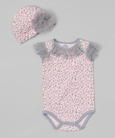 Look at this #zulilyfind! Pink & Gray Leopard Bodysuit & Beanie - Infant by Baby Essentials #zulilyfinds