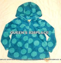 bdc1b30cb4b Nwt Crazy 8 Girls 5 5T blue aqua big Dots Fleece Zip Hoodie jacket top new