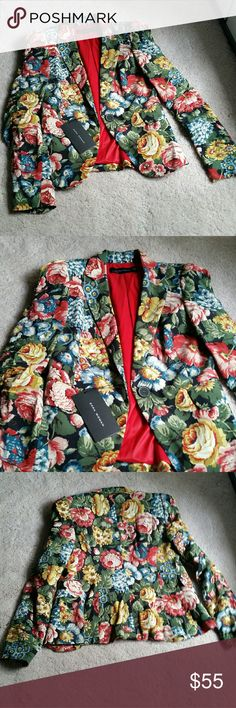 Zara Floral Blazer Jacket New with tags. Retails $129. Great for the fall. Size XS Zara Jackets & Coats Blazers