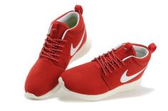 Nike Roshe Courir Hommes's Suède Rouge/Blanc ContractéDé Contractée  Sportifs Chaussures 511882-188