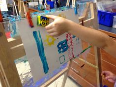 lego painting at the easel