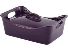 Stoneware Rectangular Covered Casserole (3.5-qt.): Eggplant by Rachael Ray at Food Network Store