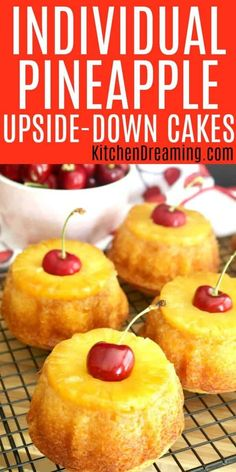 Pineapple upside-down cake is simply a basic yellow cake which is inverted after baking to reveal a glistening sheen of caramelized butter and brown sugar coating golden pineapple and cherries. cake recipe Upside-down Cake sale ideas Dreaming Mini Desserts, Just Desserts, Delicious Desserts, Dessert Recipes, Lemon Desserts, Dessert Ideas, Bunt Cakes, Cupcake Cakes, Mini Cupcakes
