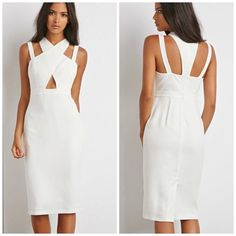NEW Strappy dress cross straps Brand new dress, never washed/worn. It is a white/cream color. Back zipper. Inner lining. **Join Poshmark app with my code HPYGO and get $10 to spend!** Forever 21 Dresses