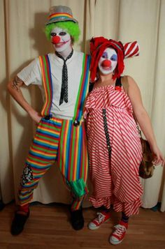 Adult Crazy Clown Costume made by Kitty Flowers. Dread wig, stripy hat, Stripe clown trousers, red converse, clown makeup