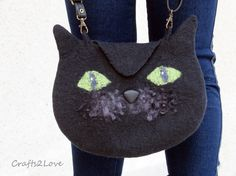 inspiration...   Felted purse Black Cat bag. Halloween trick or by Crafts2Love