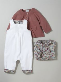 Silhouette BABY'S WOOL/COTTON CARDIGAN + BABIES' LIBERTY® SHIRT + BABIES' LIBERTY® VELOUR ALL-IN-ONE -
