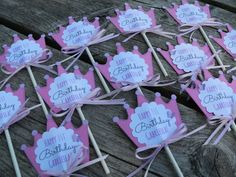 Princess Tiara Cupcake Toppers by PapercrushCrafts on Etsy.  Create your customized order! #cupcake #topper #decoration #handmade #etsy #party #birthday