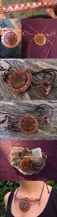 This is a Unique necklace handmade with Ayahuasca sacred vine.  Handmade copper structure with wire wrapping techniques.  Hand cut and hand-shaped piece of Ayahuasca vine. It took many days and hours to realize this special item.  Wax string braid with fully adjustable length - Max Ø 28 inches (70cm) .  The pendant is approximately 4,7 inches long (12cm) - 2,1 inches high (5,5cm)  The necklace comes with a special packaging handmade with juta natural fabric.