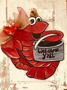 Excited to share the latest addition to my shop: Cutsy Crawfish door hanger Wooden Doors, Wooden Signs, Cajun Decor, Burlap Door Hangers, Wooden Hangers, Crab Art, Louisiana Art, Wooden Monogram, Christmas Wood
