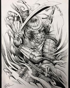 Samurai Tattoo Designs: A History Of War And Honor Japanese Warrior Tattoo, Japanese Tattoo Art, Japanese Tattoo Designs, Japanese Sleeve Tattoos, Samurai Tattoo Sleeve, Samurai Warrior Tattoo, Warrior Tattoos, Hannya Mask Tattoo, Hanya Tattoo