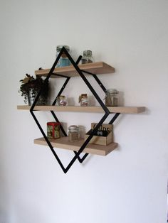Shelf style industrial diamond iron and wood small model Etagère murale style industriel losa Metal Furniture, Home Furniture, Bedroom Decor, Wall Decor, Bedroom Ideas, Diy Home Decor On A Budget, Diy Holz, Trendy Home, Wall Shelves