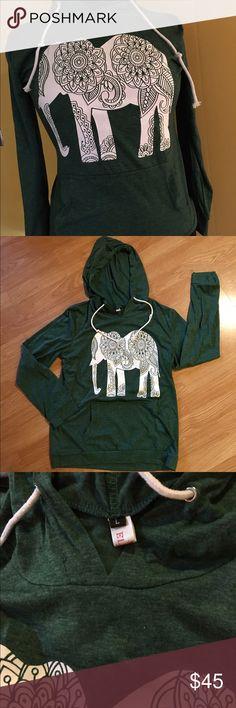 🔥NEW MARKDOWN 🔥🐘 Elephant Cotton Hoodie 🐘 Green T-shirt Hoodie Tops Sweatshirts & Hoodies
