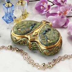 Art Nouveau Peacock Jewel Box