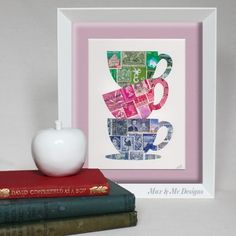 Submission: It seems like every house has a stamp album buried somewhere! Postage stamp art by Max & Me Designs | Upcyclista