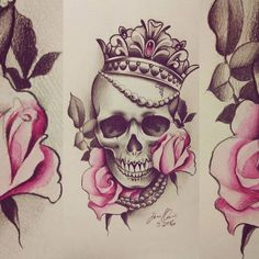 "Gefällt 119 Mal, 5 Kommentare - Sanni Voutilainen (@sanni_ink) auf Instagram: ""#skull #skulltattoo #rose #rosetattoodesign #rosetattoo #crown #pearls #jewerly #turkutattoo…"""