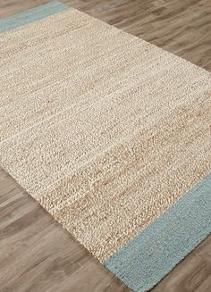 Introducing the Blue Surf Tobago all-natural Jute Area rug intricately woven with a distinct of weave of natural jute and seedpearl shades creating the center, finished with edging of elegant large blue surf stripes Coastal Area Rugs, Coastal Living Rooms, Rugs In Living Room, Blue Area Rugs, Beach Cottage Decor, Coastal Decor, Cottage Ideas, Coastal Cottage, Coastal Homes