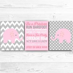 50% OFF.Elephant Art Printable Set, Elephant Nursery Print in Pink and Grey, Elephant decor, Baby Girl Print Set of three Be a princess