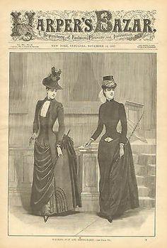 Victorian Ladies Fashion, Equestrian, Riding Habit, Vintage, 1887 Antique Print.