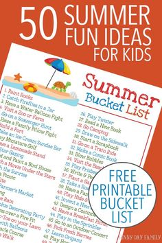 50 easy and fun summer activities for kids plus a FREE printable Summer Bucket List! Keep the kids entertained all summer long with this classic list of summer activities. Love these ideas for family fun! Summer Fun For Kids, Free Summer, Happy Summer, Summer Sun, Summer Activities For Kids, Indoor Activities, Family Activities, Toddler Activities, Family Games