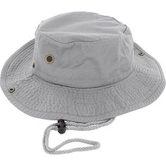 100% Cotton Boonie Fishing Bucket Men Safari Summer String Hat Cap (15+ Colors) Gray S/M DealStock