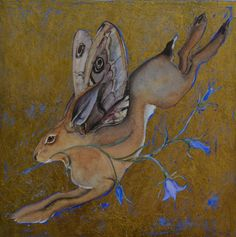 brown - painting - Jackie Morris -A lesser known British species of brown hare the moth-wing flies mostly at night and makes its next using harebells. They sing as they fly, a song similar to that of a skylark. Rabbit Run, Jack Rabbit, Rabbit Head, Art And Illustration, Dad Drawing, Lapin Art, Morris, Bunny Art, Bunny Bunny