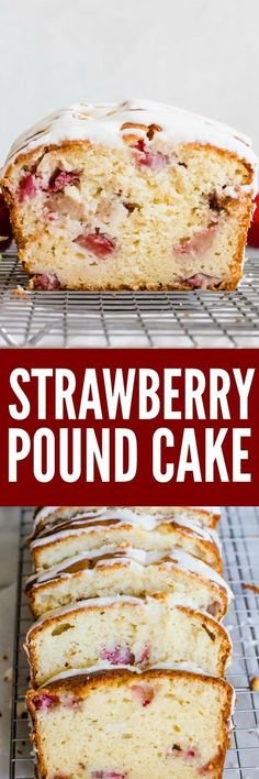 Strawberry Pound Cake. Tender and juicy strawberries are baked right into this lighter Pound cake made with NO BUTTER and using greek yogurt instead! Topped with a drizzle of cream cheese glaze.