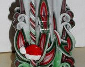 Christmas candle Unique handmade gift X-mas candle Hand Carved candles 5 inch/ 12cm