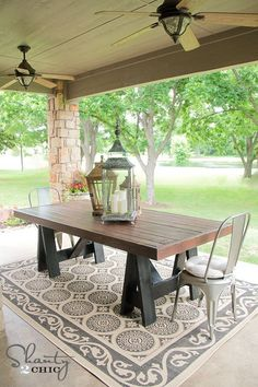 diy patio dining table great wood patio dining table build your own outdoor dining table a pottery barn knock off diy concrete patio dining table Diy Outdoor Table, Diy Dining Table, Diy Farmhouse Table, Patio Dining, Diy Patio Tables, Painted Patio Table, Concrete Outdoor Table, Diy Picnic Table, Picnic Table Plans